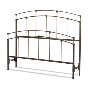 Fenton Black Walnut California King Bed with Metal Duo Panels and Globe Finials