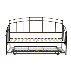 Fenton Black Walnut Twin Complete Metal Daybed with Euro Top Deck and Trundle Bed Pop-Up Frame