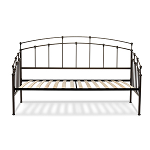 Fenton  Black Walnut Twin Complete Metal Daybed with Spindle Panels and Euro Top Deck