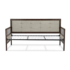 Gotham Brushed Copper Twin Complete Metal Daybed with Latte Finished Button-Tufted Upholstery and Link Spring