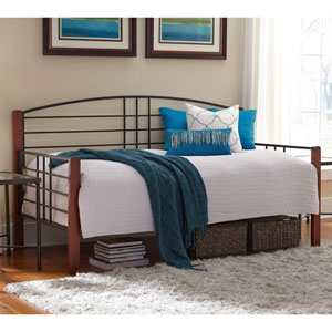 Dayton Black Grain Twin Complete Metal Daybed with Arched Back Panel and Euro Top Deck