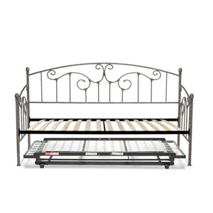 Hinsdale Pewter Twin Complete Metal Daybed with Euro Top Deck and Trundle Bed Pop-Up Frame