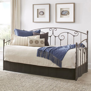 Hinsdale Antique Pewter Twin Complete Metal Daybed with Link Spring and Trundle Bed Pop-Up Frame