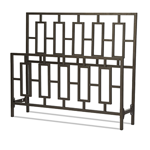 Miami Coffee California King Bed with Squared Tube Metal Duo Panels and Geometric Design
