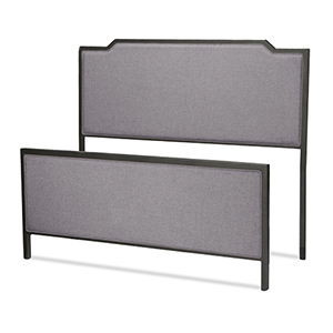 Bayview Black Pearl Metal Twin Bed with Gray Dove Upholstered Headboard and Footboard