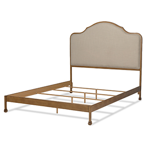 Calvados Natural Oak Complete California King Bed with Metal Headboard and Sand Colored Upholstery