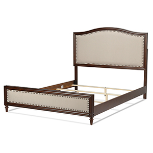 Grandover Espresso Platform Queen Bed with Detailed Wooden Frame and Cream Upholstery