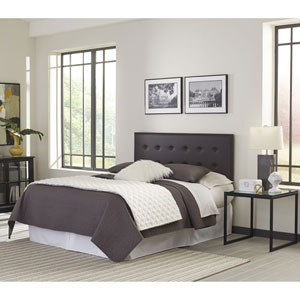 Franklin Mocha Adjustable Full/Queen Headboard Panel with Faux Leather Upholstery and Button-Tufted Design