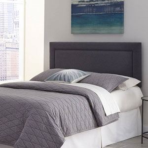 Somerset Granite King Adjustable Headboard with Upholstered Panel and Piping Trim Design