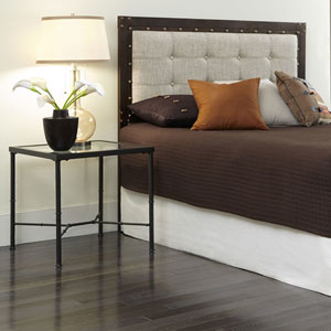 Gotham Brushed Copper Metal California King Headboard with Dark Latte Upholstered Panel and Antique Industrial Studs