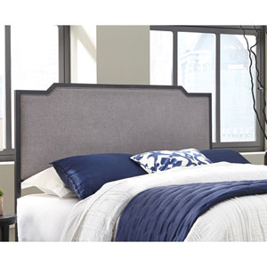 Bayview Black Pearl Metal King Headboard with Gray Dove Upholstery
