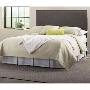 Brookdale Jitterbug Gray Full/Queen Upholstered Headboard Panel with Solid Wood Adjustable Frame and nail head Trim Design