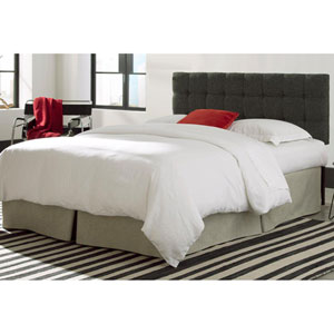 Covington Grande Carbon Gray Full/Queen Upholstered Headboard Panel with Solid Wood Adjustable Frame and Button-Tufted Design