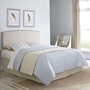 Princeton Light Wheat King Adjustable Headboard with Upholstered Panel and Nail Head Trim Design