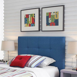 Henley Denim Blue Upholstered Twin Kids Headboard Panel with Button Tufted Design