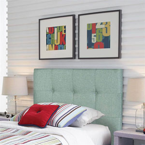 Henley Celery Green Upholstered Twin Kids Headboard Panel with Button Tufted Design