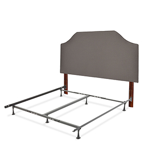 Bordeaux Dolphin Gray Complete King Bed with Upholstered Headboard and 45G Steel Support Frame