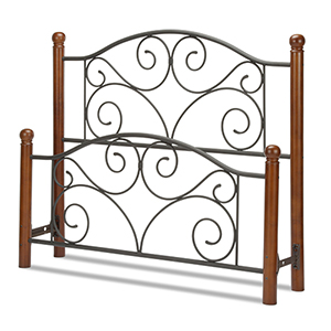 Doral Matte Black Queen Bed with Metal Panels and Dark Walnut Wood Posts