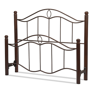 Cassidy Mink Queen Bed with Metal Panels and Dark Walnut Wood Posts
