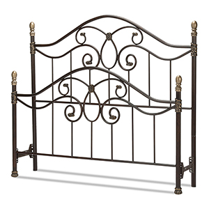 Dynasty Autumn Brown King Bed with Arched Metal Duo Panels and Scalloped Finial Posts
