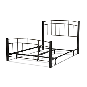 Scottsdale Black Speckle Complete Queen Bed with Metal Panels and Dark Espresso Wooden Posts