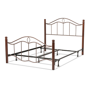 Cassidy Mink Complete Queen Bed with Metal Panels and Dark Walnut Wood Posts