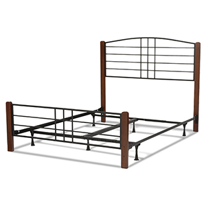Dayton Black Grain Complete Queen Bed with Metal Panels and Flat Wooden Posts