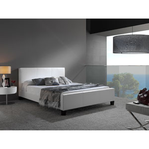 Euro White King Platform Bed