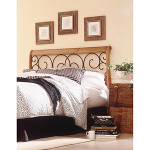 Dunhill Honey Oak Wood California King Headboard with Sleigh Style Design and Autumn Brown Metal Swirling Scrolls