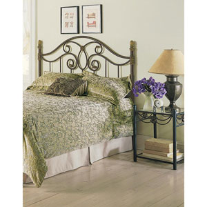 Dynasty Autumn Brown California King Headboard with Arched Metal Grill and Scalloped Finial Posts