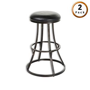 Dover Metal 26 In. Barstool with Black Upholstered Swivel-Seat and Blackened Bronze Frame Finish, Set of Two