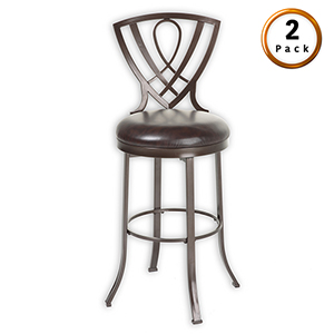 Lincoln 26 In. Metal Counter Stool with Chocolate Upholstered Swivel-Seat and Brown Crystal Frame Finish, Set of Two