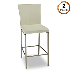 Cheyenne Metal 30 In. Barstool with Glacier Finished Upholstered Seat and Stainless Steel Frame, Set of Two