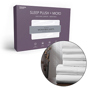 Sleep Plush Plus Queen White Four-Piece Microfiber 500g Bed Sheet Set with Wrinkle Free Performance Fabric