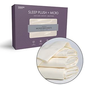Sleep Plush Plus Full Beige Four-Piece Microfiber 500g Bed Sheet Set with Wrinkle Free Performance Fabric