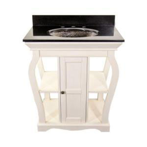 Antique White Vineta Vanity & Black Granite Undermount Top