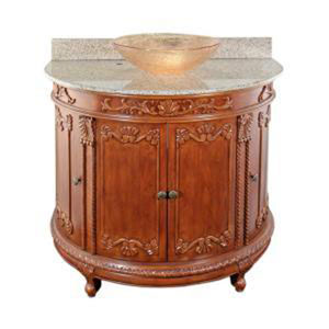 Oak Semi-Circle Vanity & Beige Granite Vessel Top