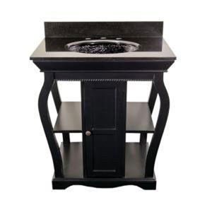 Black Vineta Vanity & Black Granite Undermount Top
