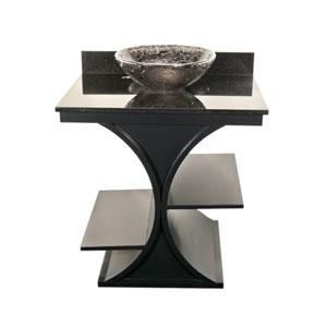 Black Cruz Vanity with Black Granite Top & 16-Inch Black Nickel Oceana Vessel