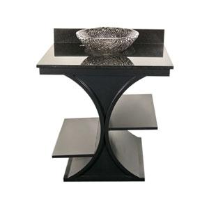 Black Cruz Vanity with Black Granite Top & 16-Inch Black Nickel Pebble Vessel