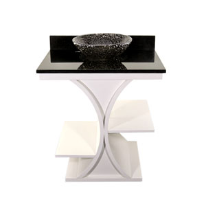 White Cruz Vanity with Black Granite Top & 16-Inch Black Nickel Pebble Vessel
