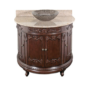 Espresso Semi-Circle Vanity with Beige Granite Top & 16-Inch Black Nickel Pebble Vessel