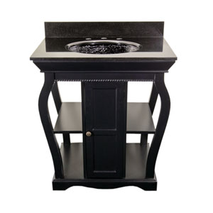 Black Vineta Vanity with Black Granite Top & Black Nickel Oceana Undermount