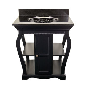 Black Vineta Vanity with Black Granite Top & Black Nickel Pebble Undermount/Drop-In