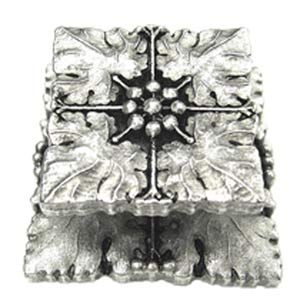 Medici Square Four-Leaf Knob with Backplate - Warm Pewter