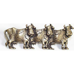 Three Cows Right Drawer Pull - Antique Matte Brass