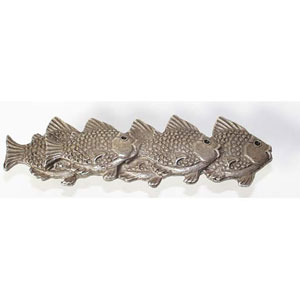 School of Fish Right Drawer Pull - Antique Matte Silver
