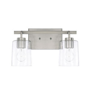 HomePlace Greyson Brushed Nickel 15-Inch Two-Light Bath Vanity