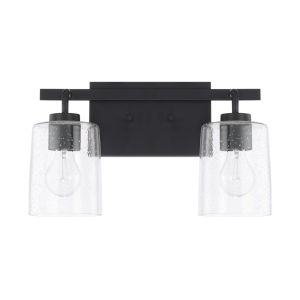 HomePlace Greyson Matte Black 15-Inch Two-Light Bath Vanity