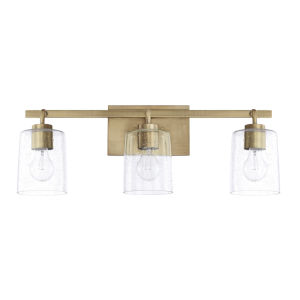 HomePlace Greyson Aged Brass 25-Inch Three-Light Bath Vanity